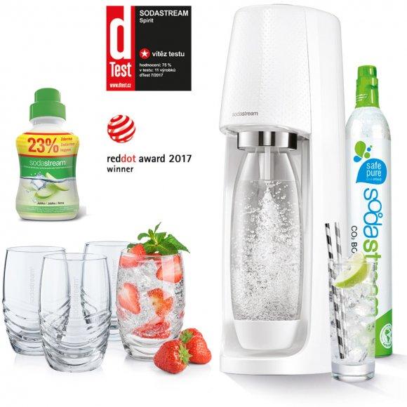 SODASTREAM Spirit White + Zdarma 4 skleničky + Příchuť